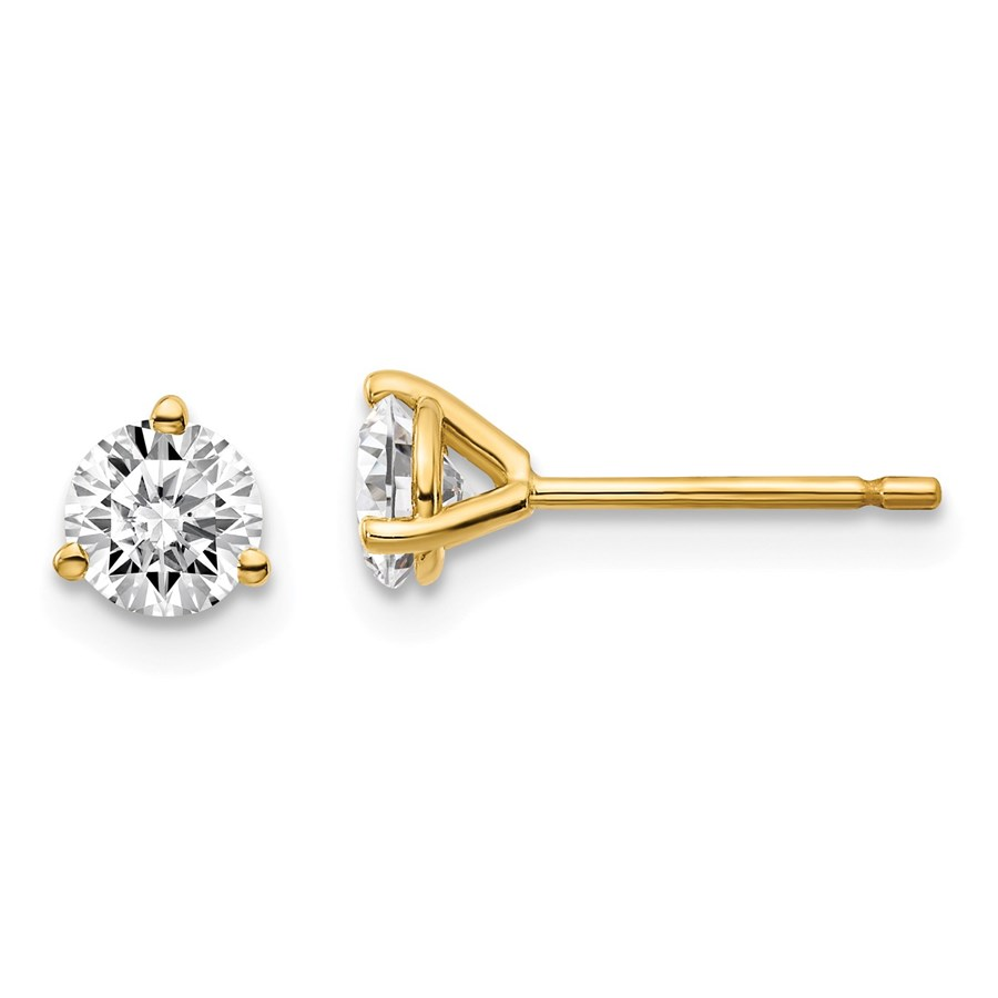14k Yellow Gold 2/3ct Cert Lab Grown Diamond 3-Prong Earring