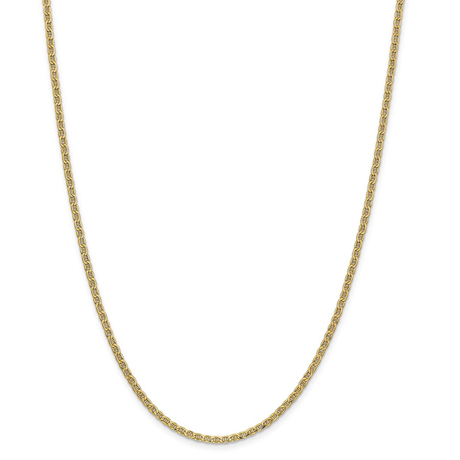 14k Yellow Gold 2.40 mm Semi-Solid Anchor Chain Necklace - 24 in.
