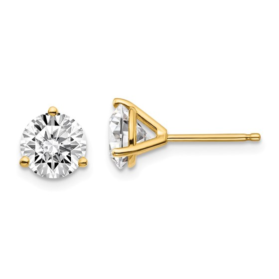 14k Yellow Gold 2ct Cert. Lab Grown Diamond 3-Prong Earring