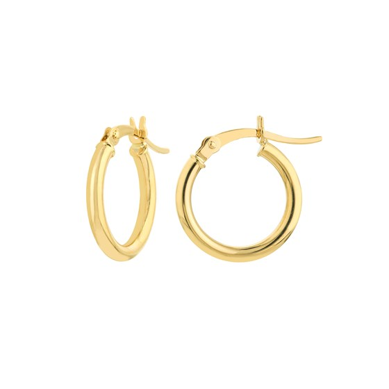 14K Yellow Gold 2X15mm Round Tube Polished Hoop Earring