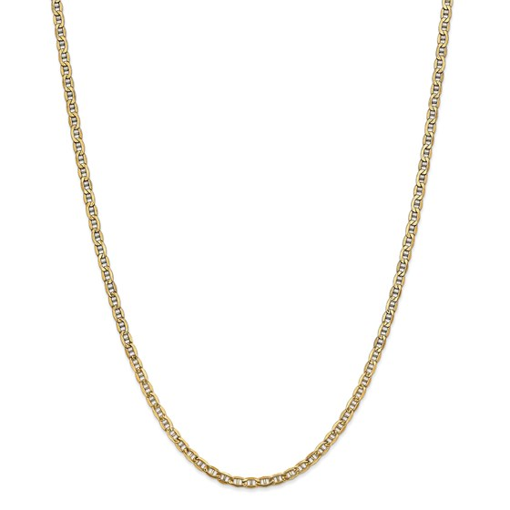 14k Yellow Gold 3.20 mm Semi-Solid Anchor Chain Necklace - 24 in.