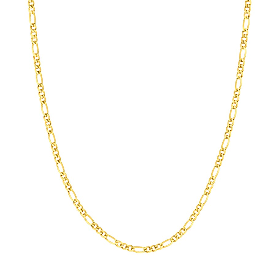 14K Yellow Gold 3.2mm Concave Link Figaro Chain - 20 in.