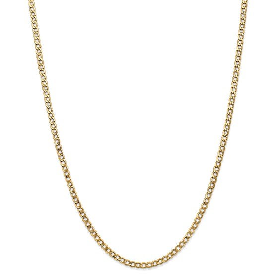 14k Yellow Gold 3.35 mm Semi-Solid Curb Link Chain - 22 in.