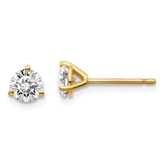 14k Yellow Gold 3/4ct Cert Lab Grown Diamond 3-Prong Earring
