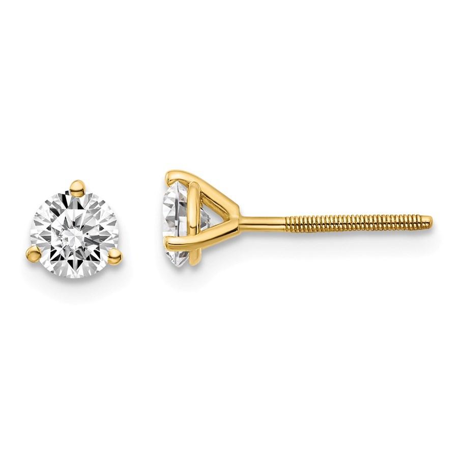 14k Yellow Gold 3/4ct Cert. Lab Grown Diamond 3-Prong Earring