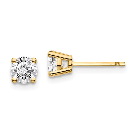 14k Yellow Gold 3/4ct Cert Lab Grown Diamond 4-Prong Earring