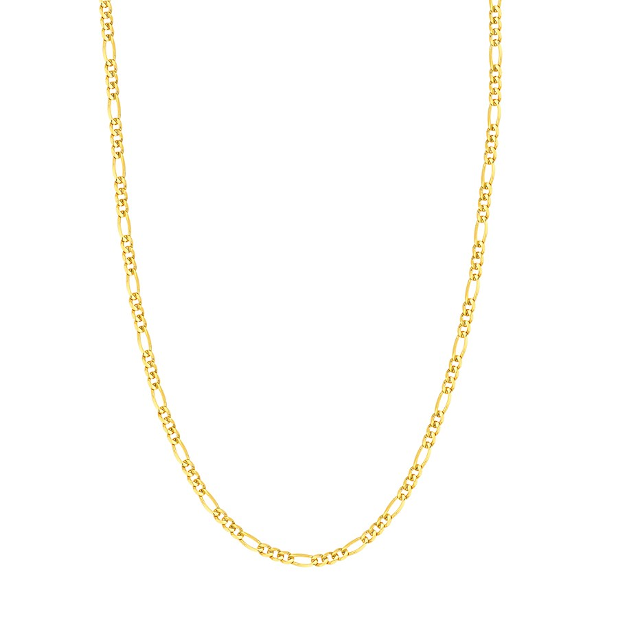 14K Yellow Gold 3.9mm Concave Link Figaro Chain - 24 in.