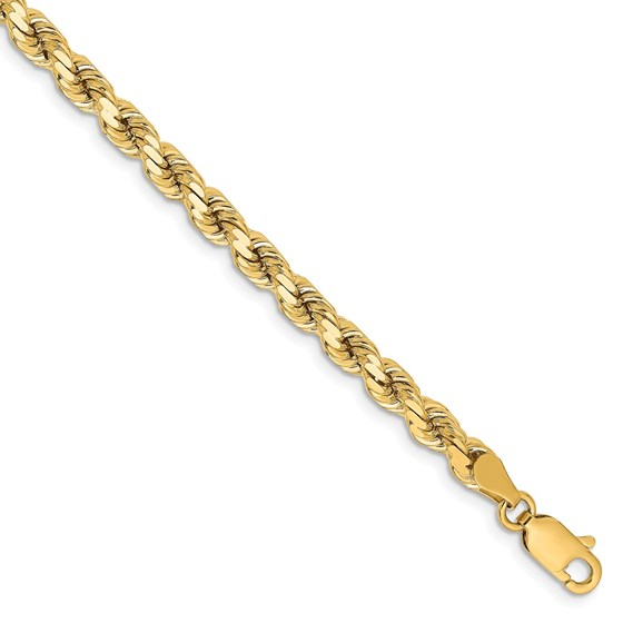 14k Yellow Gold 4.25 mm Diamond Cut Rope Chain - 7 in.