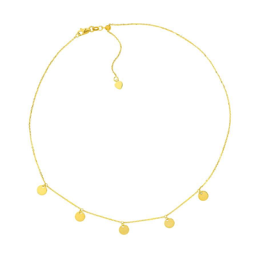 14K Yellow Gold 5 Dangle Disc Choker Slicon Necklace - 16 in.