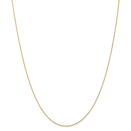 14k Yellow Gold .8 mm Round Diamond Cut Wheat Chain - 22 in.