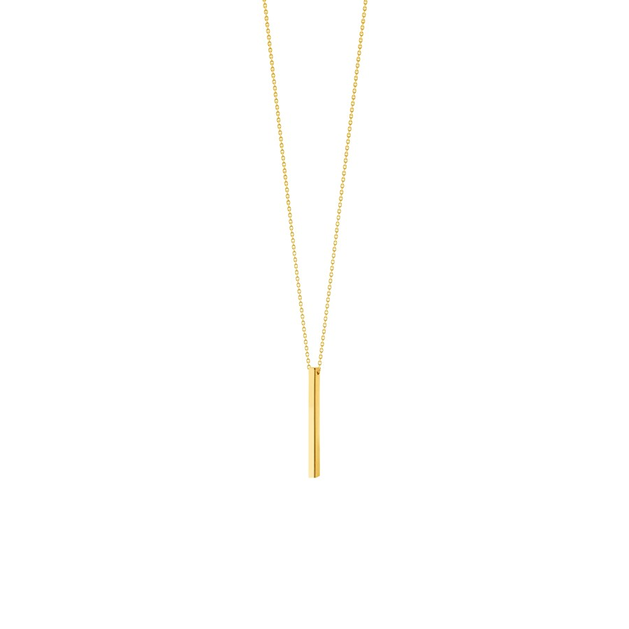 14K Yellow Gold Bar Pendant DC Cable Chain Necklace - 16 - 18 in.