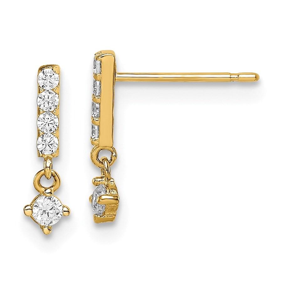 14k Yellow Gold Bar with Dangle Cubic Zirconia Post Earrings