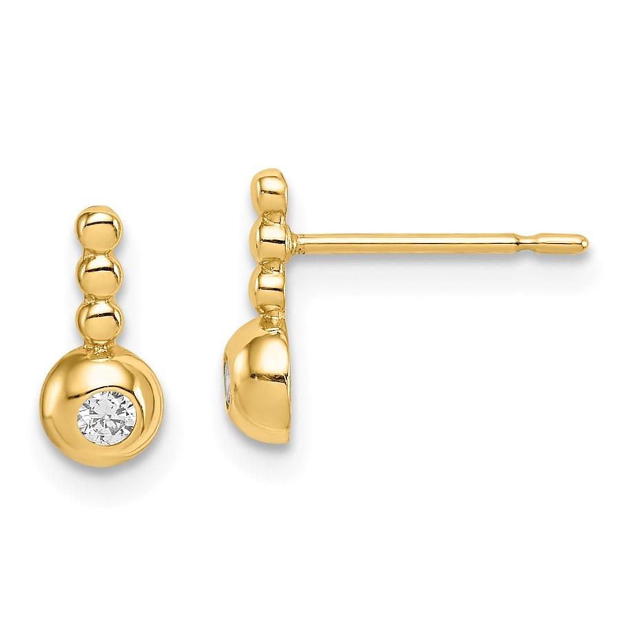 14k Yellow Gold Bubble Cubic Zirconia Drop Stud Earrings