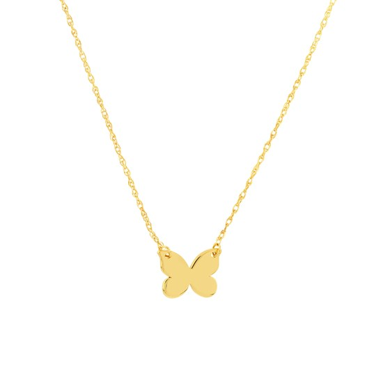 """14K Yellow Gold Butterfly Rope Necklace - 16""""-18"""""""