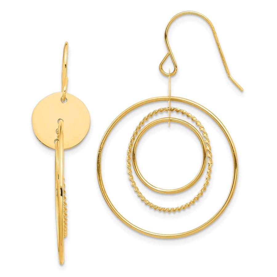 14k Yellow Gold Circle Dangle Earrings