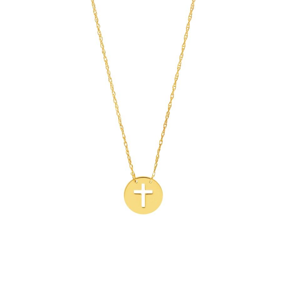 "14K Yellow Gold Cross Mini Disc Pendant Rope Necklace - 16""-18"""