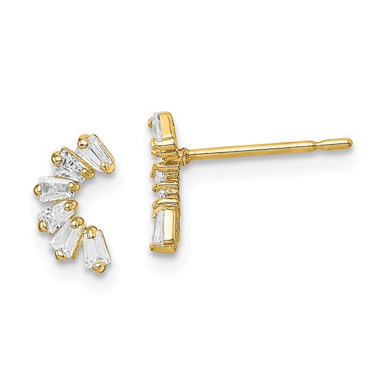 14k Yellow Gold Cubic Zirconia Arch Post Earrings