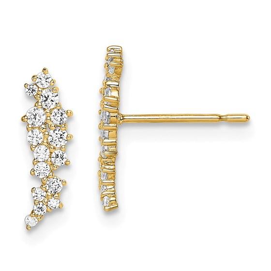 14k Yellow Gold Cubic Zirconia Cluster Post Earrings