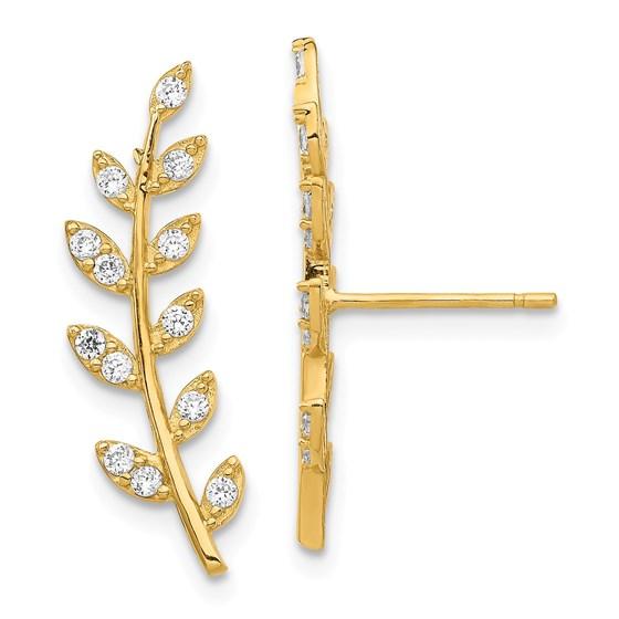 14k Yellow Gold Cubic Zirconia Fern Ear Climber Earrings