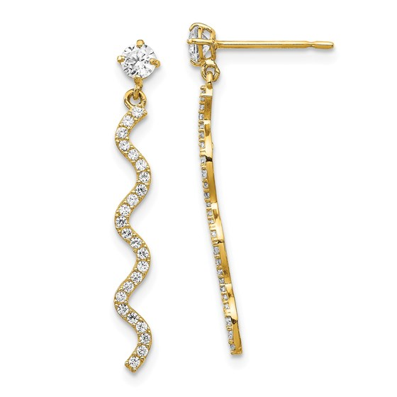 14k Yellow Gold Cubic Zirconia Wave Dangle Post Earrings