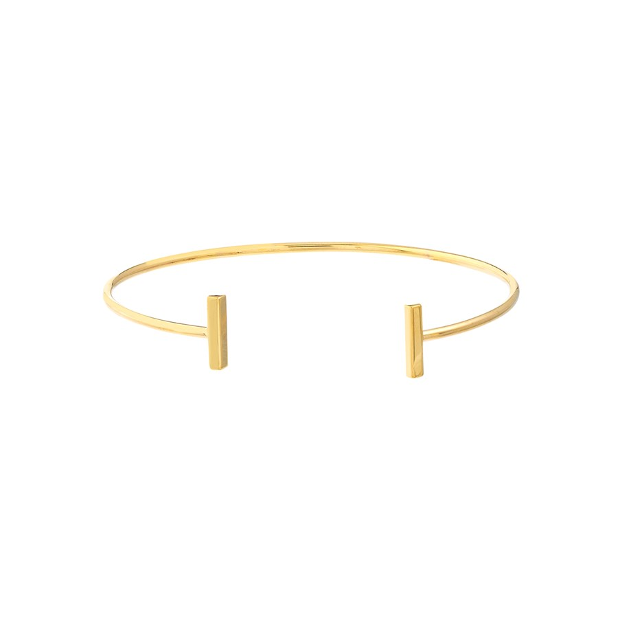 14K Yellow Gold Cuff Bangle Bracelet