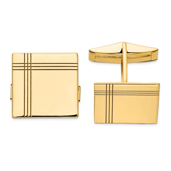 14k Yellow Gold Cuff Links - Square Stripe