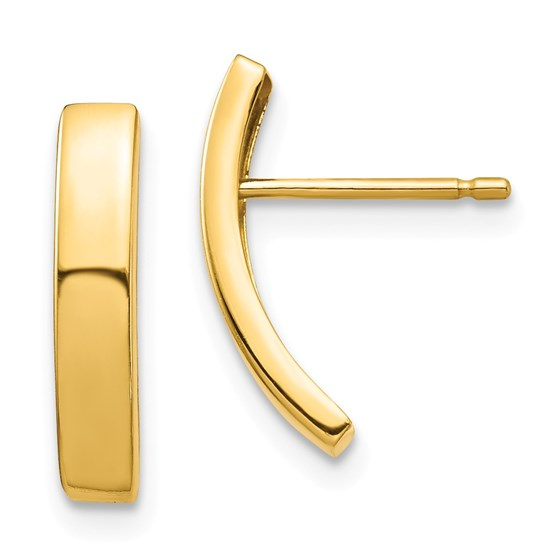 14k Yellow Gold Curved Bar Post Earrings