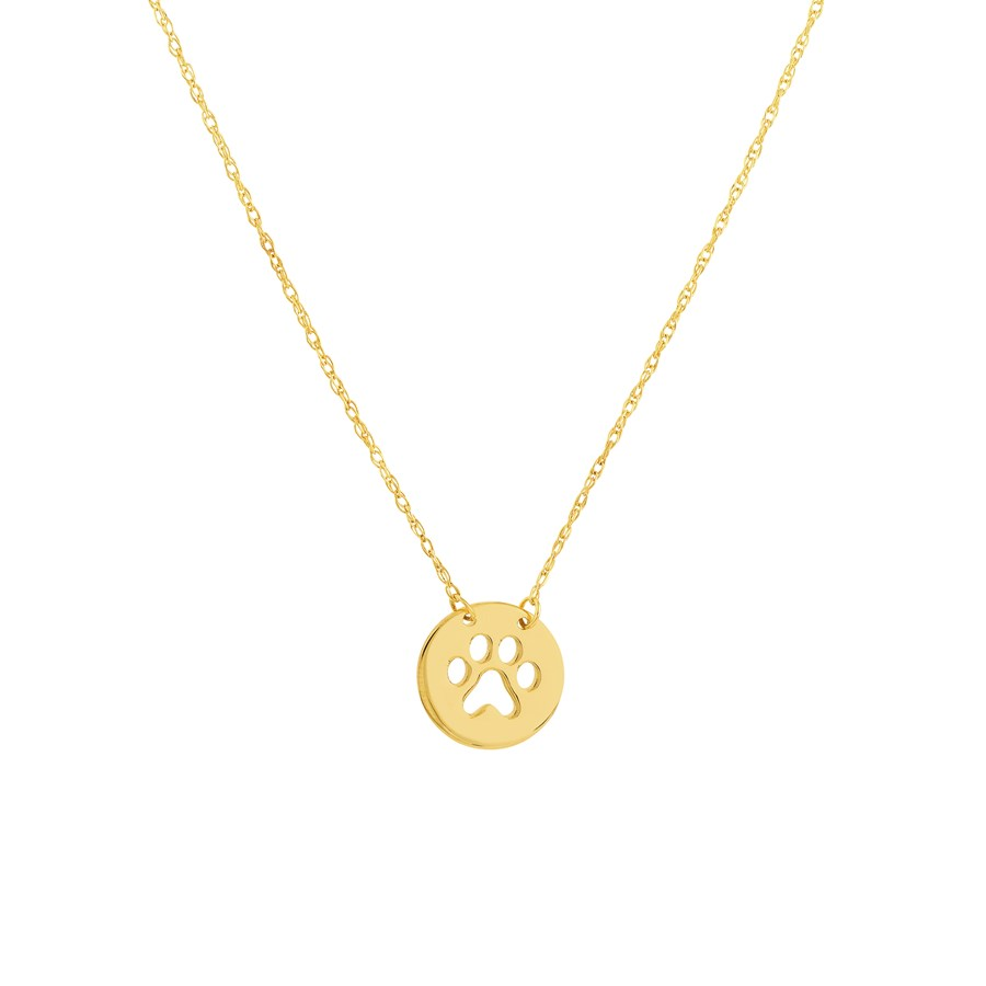 """14K Yellow Gold Cutout Paw Mini Disc Rope Necklace - 16""""-18"""""""