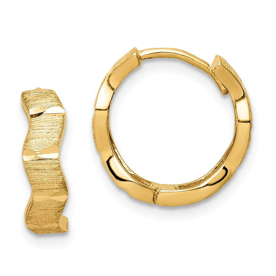 14k Yellow Gold D/C and Textured Wave Hoop Earrings