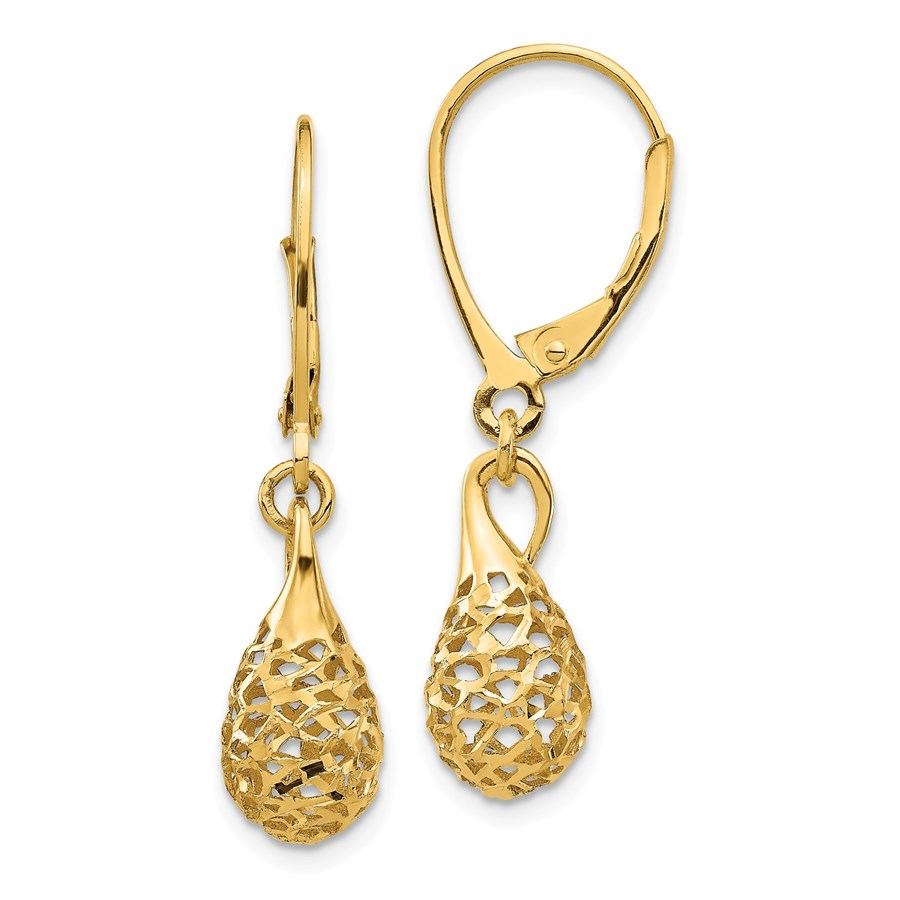14k Yellow Gold D/C Dangle Leverback Earrings