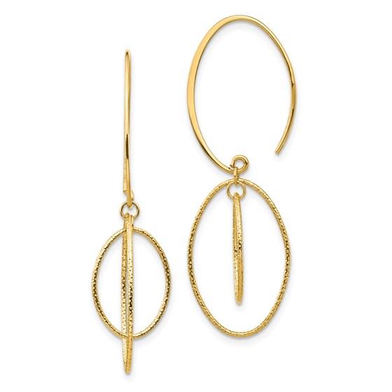 14k Yellow Gold Dangle Textured Threader Earrings