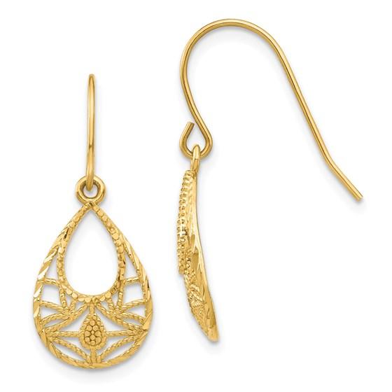 14k Yellow Gold Diamond-cut Dangle Earrings