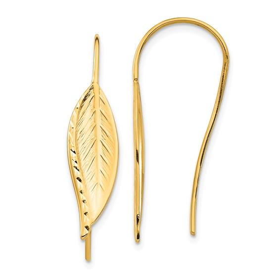 14k Yellow Gold Diamond-Cut Dangle Leaf Earrings