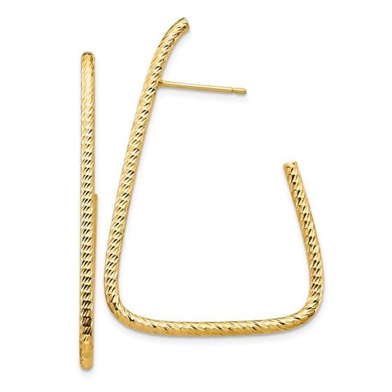 14k Yellow Gold Diamond-cut Post Dangle Earrings