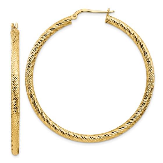 14k Yellow Gold Diamond-cut Round Hoop Earrings - 3x40 mm