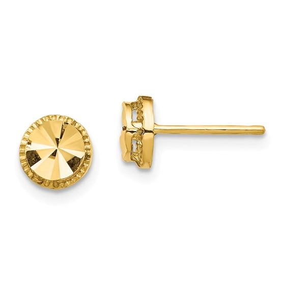 14k Yellow Gold Diamond-Cut Round Post Earrings