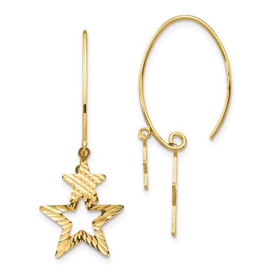 14k Yellow Gold Diamond-Cut Star Dangle Earrings
