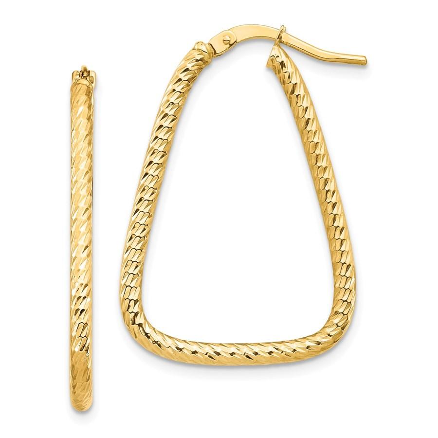 14k Yellow Gold Diamond Cut Twisted Triangle Hoop Earrings