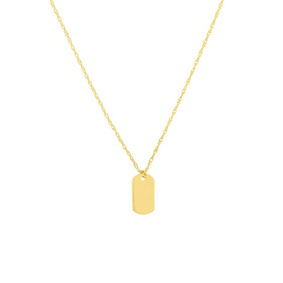 """14K Yellow Gold Dog Tag Pendant Rope Necklace - 16""""-18"""""""