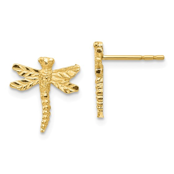 14k Yellow Gold Dragonfly Post Earrings