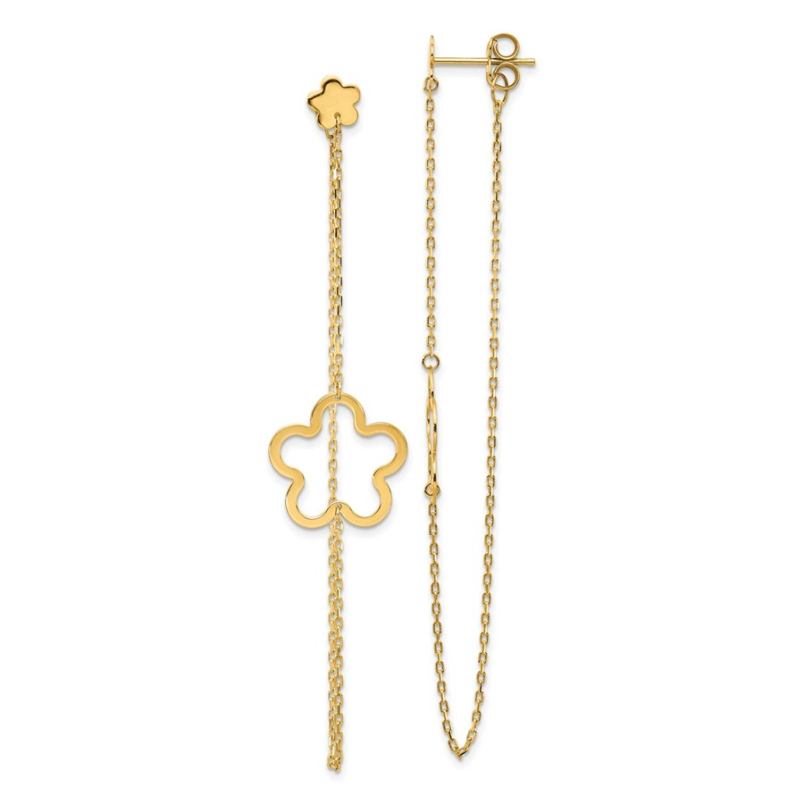 14k Yellow Gold Flower Post Dangle Earrings