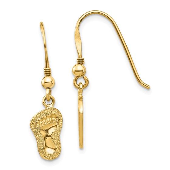 14k Yellow Gold Footprints Shepherd Hook Earrings