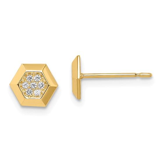 14k Yellow Gold Hexagon Cubic Zirconia Stud Earrings
