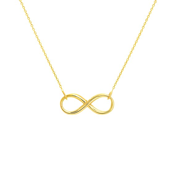 14K Yellow Gold Infinity Necklace .8 mm Cable Chain - 16-18 in.