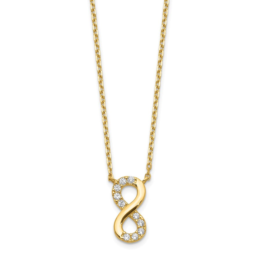 14k Yellow Gold Infinity Symbol CZ Necklace - 20 in.