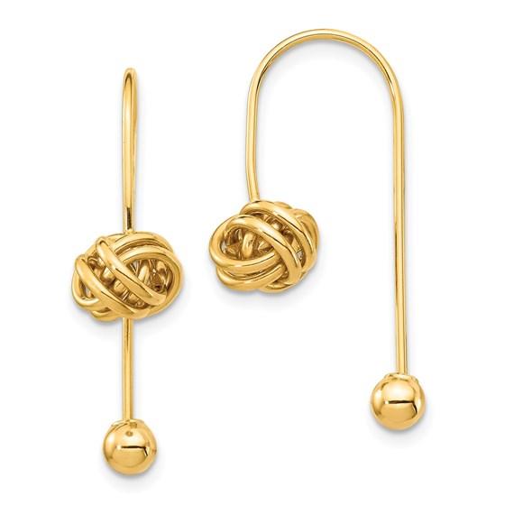 14k Yellow Gold Love Knot w/Screw End Threader Earrings