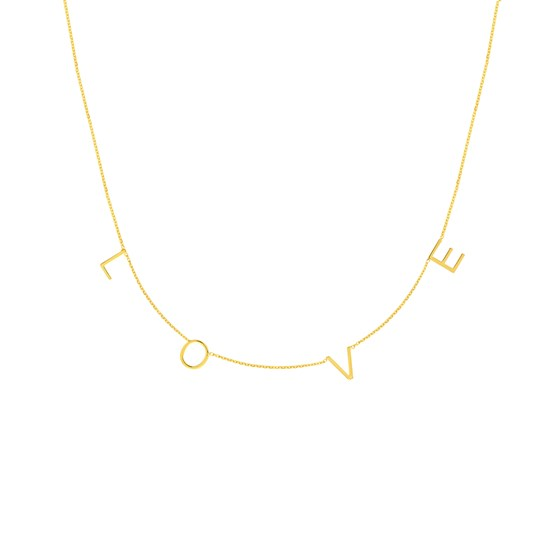 14K Yellow Gold Love Necklace - 16-18 in.