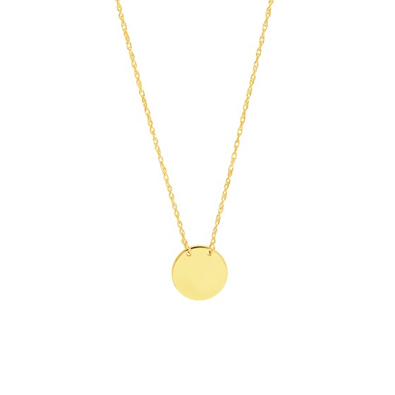 """14K Yellow Gold Mini Disc Pendant Rope Necklace - 16""""-18"""""""