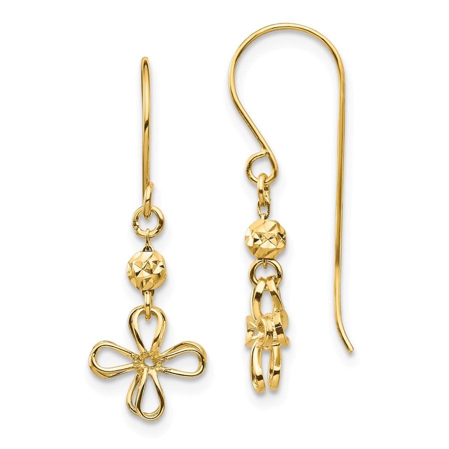 14k Yellow Gold Open Clover Dangle Earrings