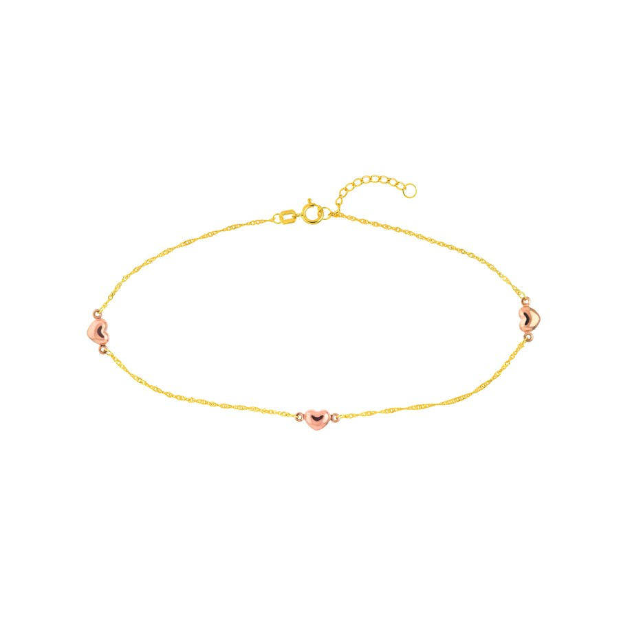 14K Yellow Gold Pink Heart Anklet - 9 - 10 in.